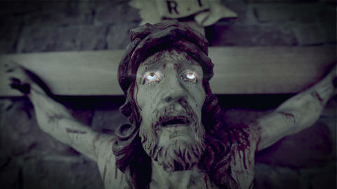 Horror  Scary  Jesus  On  The  Cross 10937  stock footage