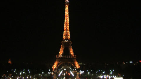 Eiffel tower at night tilt Footage