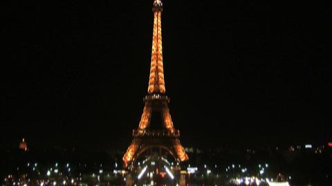 Eiffel tower at night tilt Footage