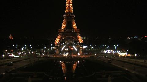 Eiffel tower at night tilt Stock Video Footage