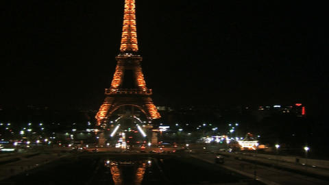 Pan from right to left from the Eiffel tower in the evening Stock Video Footage