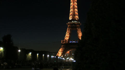 Eiffel tower time lapse slider at night fast Stock Video Footage