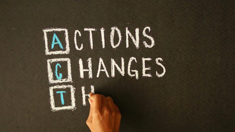 Actions Changes Things Chalk Drawing stock footage