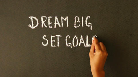 Dream Big, Set Goals, Take Action chalk drawing Stock Video Footage