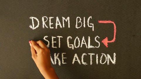 Dream Big, Set Goals, Take Action chalk drawing Footage