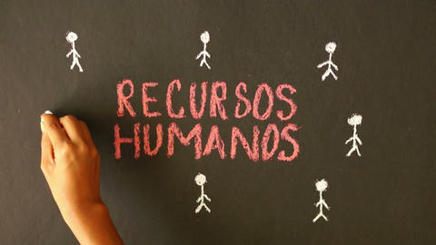 Human resource chalk drawing Stock Video Footage