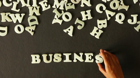 Business Word out of Plastic Letters Footage