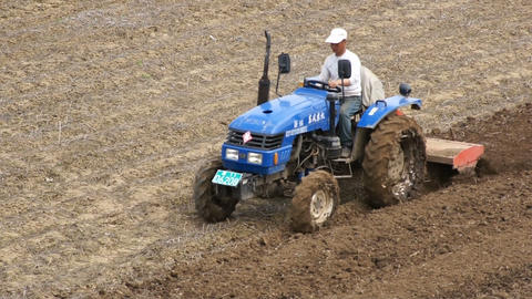 Chinese Tractor On The Spring Field 0