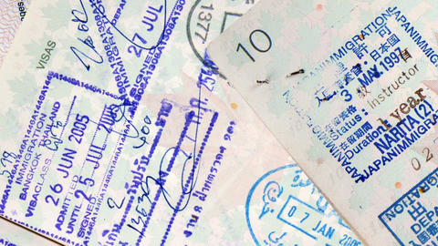 Passport Stamps stock footage