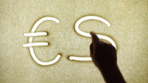 Exchange Euro Dollar, Sand Painting Stock Video Footage