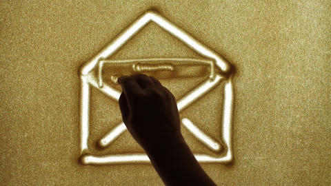 Mail, Sand Painting Stock Video Footage