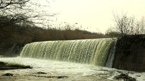 Waterfall on the River Mountain Tikich. Buki village, Ukraine Footage