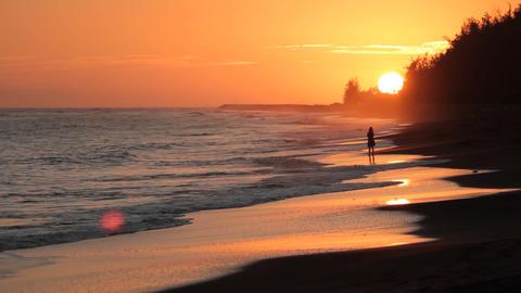 Sunset Girl On Hawaii Beach QT stock footage