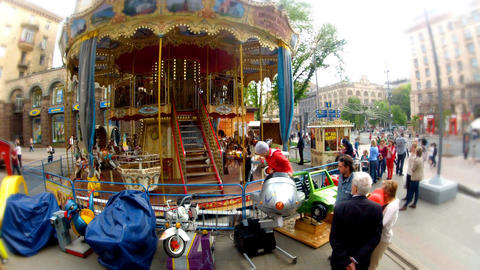 carousel in the street Stock Video Footage