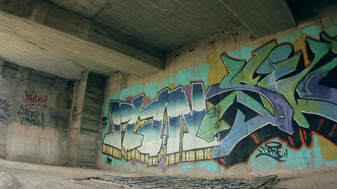 Architecture graffiti wall artwork Stock Video Footage