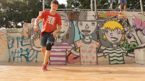 Urban Hip-hop Teenager dubstep dancer dancing breakdance bboy in action Footage