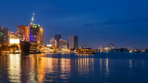 1080 - SAIGON RIVER AT NIGHT - TIME LAPSE Footage