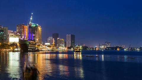 1080 - SAIGON RIVER AT NIGHT - TIME LAPSE Stock Video Footage