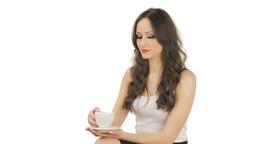 Brunette dislikes the coffee Stock Video Footage