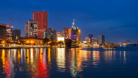 SAIGON RIVER AT NIGHT - TIME LAPSE Footage