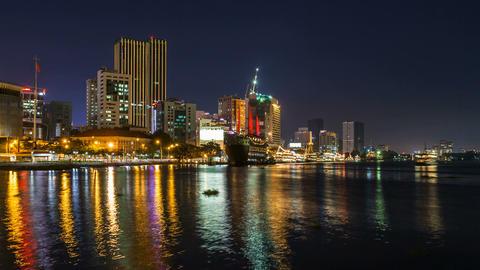 SAIGON RIVER AT NIGHT - TIME LAPSE Stock Video Footage