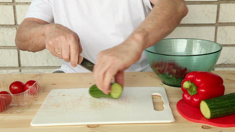 Making salad from onion and other vegetables 6d Stock Video Footage