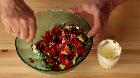 Making salad from onion and other vegetables 7b Stock Video Footage