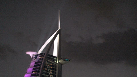 Burj al Arab hotel at night Stock Video Footage