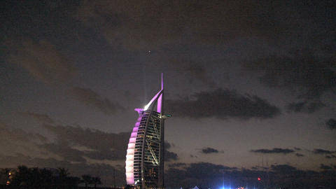 Burj al Arab hotel at night Footage
