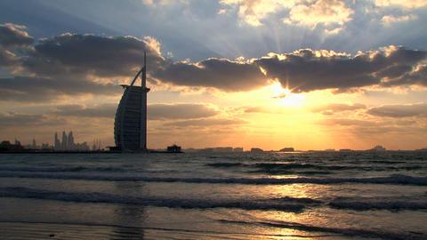 Sunset Burj al Arab hotel, Dubai Stock Video Footage