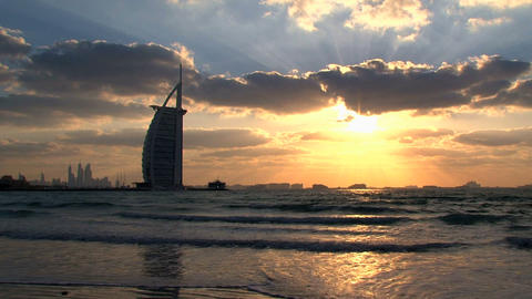 Sunset Burj al Arab hotel, Dubai Stock Video Footage