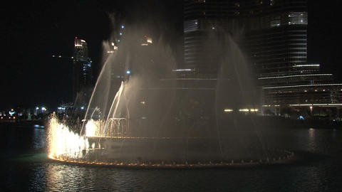 The Dubai Fountain with lights and music Stock Video Footage