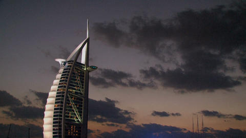 Burj al Arab hotel clouds time lapse Footage