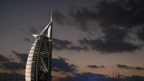 Burj al Arab hotel clouds time lapse Stock Video Footage