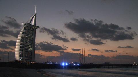Burj al Arab hotel during sunset Stock Video Footage