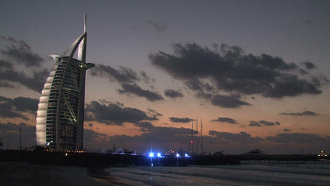 Burj al Arab hotel during sunset Footage
