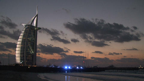 Burj al Arab hotel during sunset Stock Video Footage