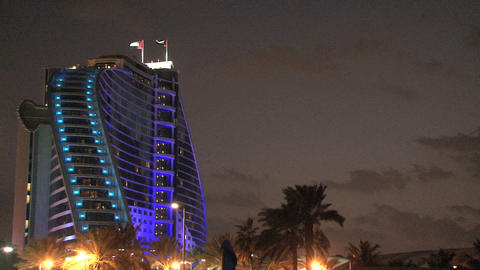 Jumeirah Beach Hotel At Night stock footage