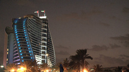 Jumeirah beach hotel at night Stock Video Footage