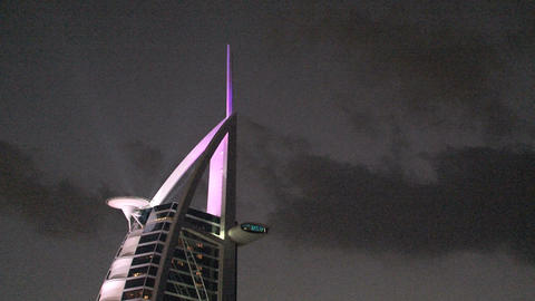 Burj al Arab hotel lights Stock Video Footage