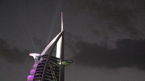 Burj al Arab hotel lights Stock Video Footage