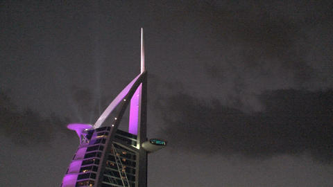 Burj al Arab hotel lights Footage