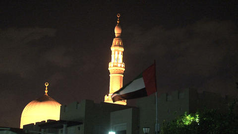 Jumeirah mosque with flag Stock Video Footage