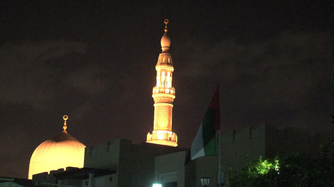 Jumeirah mosque with flag Footage