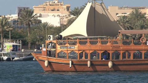 Cruise boat in harbor Dubai Stock Video Footage