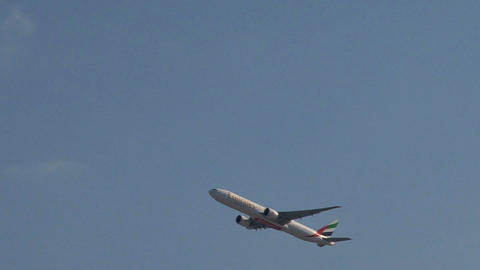 Emirates airplane taking off Stock Video Footage
