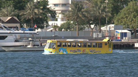 Tourism yellow water bus Footage