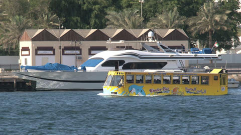Tourism yellow water bus Stock Video Footage