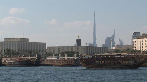 Cruise ship and Burj Khalifa Stock Video Footage