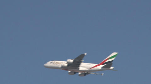 Emirates A380 airplane Stock Video Footage